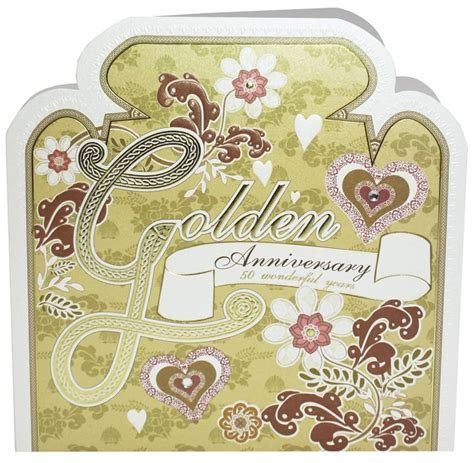 Hand Finished Golden Anniversary Card   Karenza Paperie