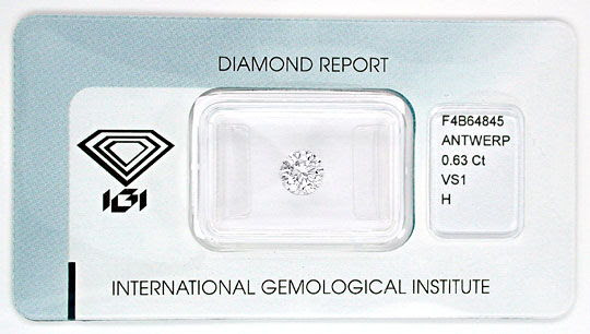 Foto 1, Diamant IGI, Top-Brillant 0,63ct Weiss-Wesselton Juwel!, D5557