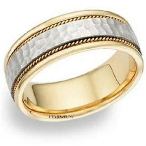 18K MENS TWO TONE GOLD WEDDING BAND RING HAMMERED 8MM   eBay