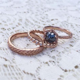 ?ASTER? Dark Grey Rose Cut Diamond Feather Ring, 1.39ct
