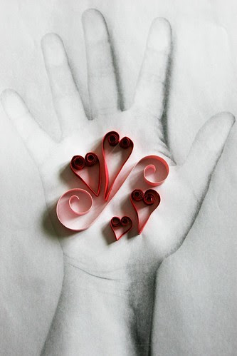 Quilling on Ann's Hand
