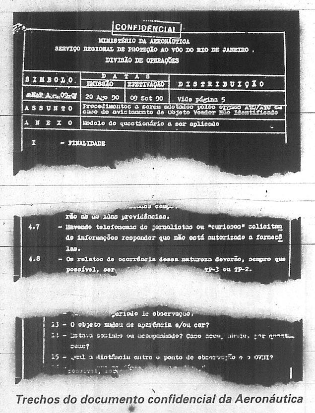 Reprodução do documento da Aeronáutica