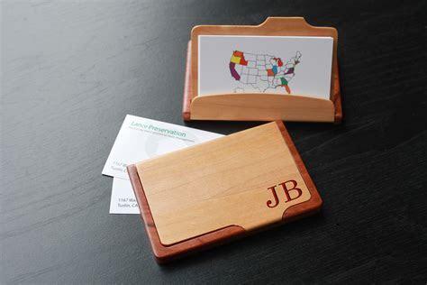 Personalized Wood Business Card Holder   JB corner   Etchey
