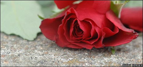 Rose left as floral tribute