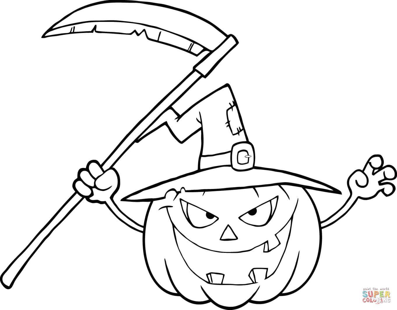 Klick das Bild Schrecklicher Halloween Kürbis mit Hexenhut und Sense