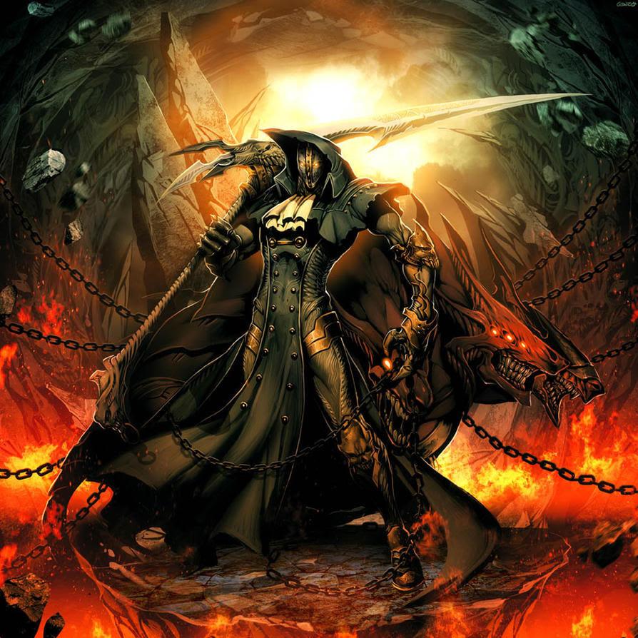 Fantasy Digital Paintings Iron Mask – Black as Death by GENZOMAN
