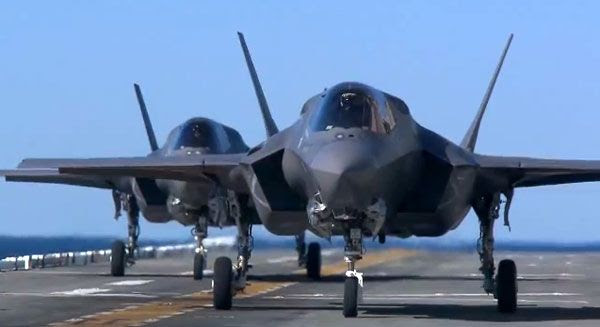 Two F-35B fighter jets prepare to undergo sea-trials aboard the amphibious assault ship USS Wasp, in October of 2011.