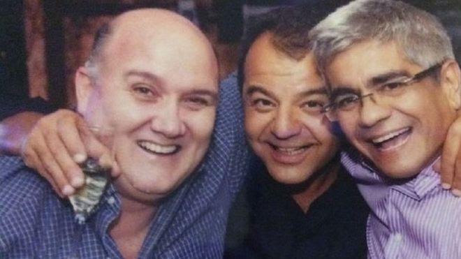 John O'Donnell, Sergio Cabral e Luiz Carlos Bezerra, em foto com outro amigo enviada em e-mail interceptado pelo MPF