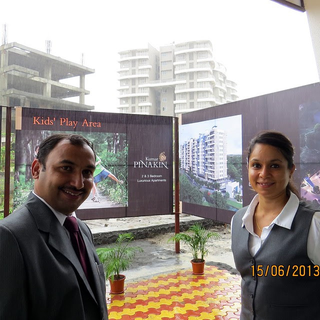 Mr. Ashraf & Ms. Alpana, Manager, Kumar Properties, at the site of Kumar Pinakin, 2 BHK & 3 BHK Flats behind Supreme Estado, Baner Pune