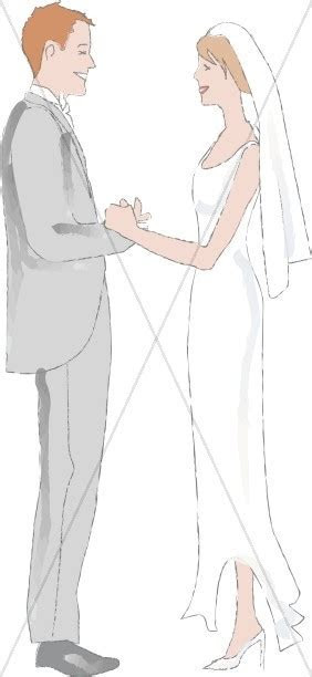 Happy Couple at the Altar   Christian Wedding Clipart
