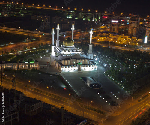 "Mosque ""Nur Astana"" night. Kazakhstan, Astana"