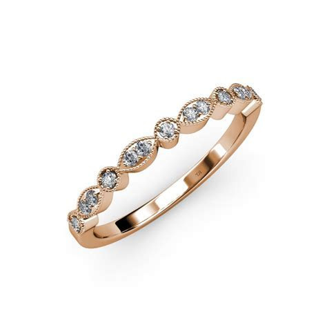 Diamond Marquise and Dot Womens Wedding Band Stackable 0