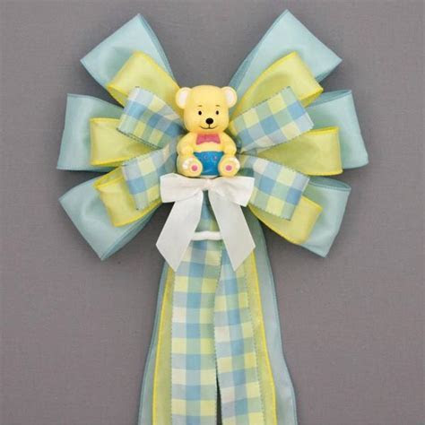 Yellow Bear Plaid Baby Shower Bow   Hospital Door