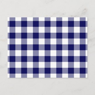 Navy and White Gingham Pattern Post Card