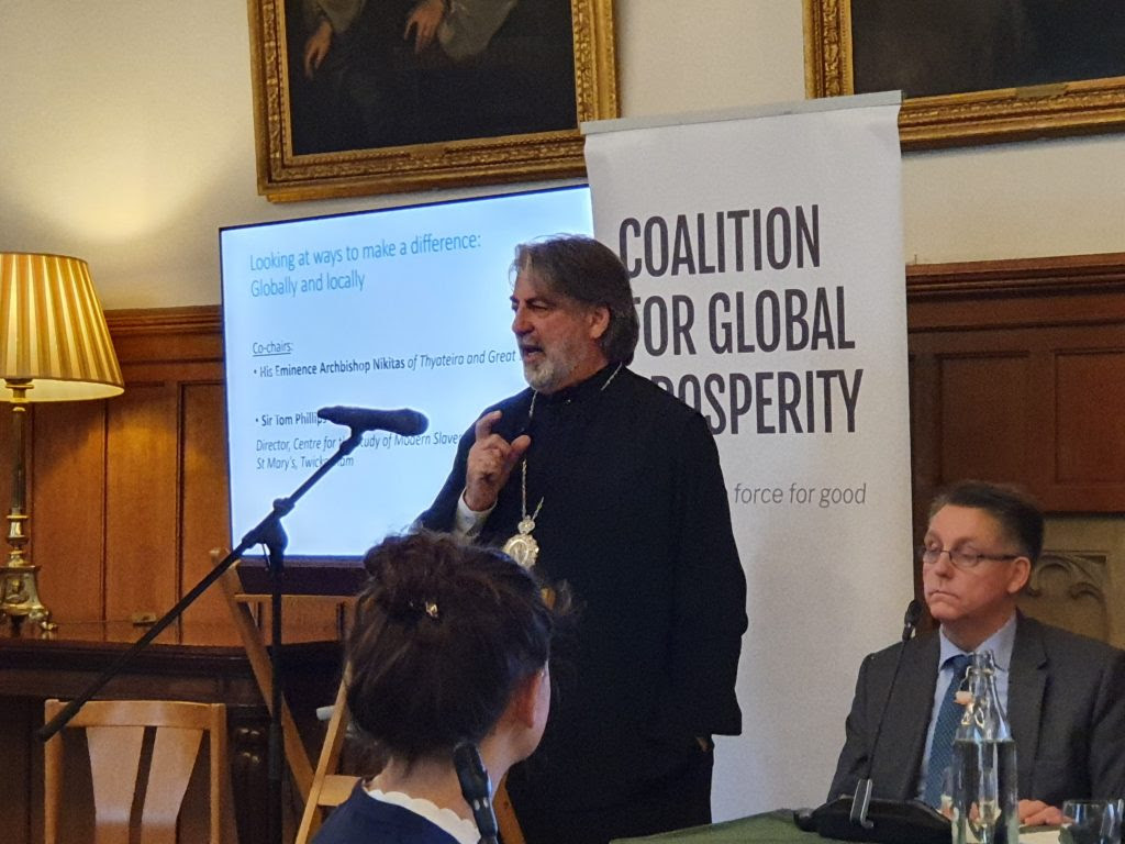 His Eminence Archbishop Nikitas participated at a round table discussion on human trafficking
