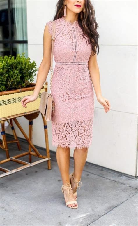 Beautiful Pink Lace Sheath Dress for Spring or Wedding