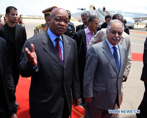 Republic of South Africa President Jacob Zuma with Libyan Prime Minister Baghdadi Mahmudi during his visit to Tripoli on May 30, 2011. The Libyan government has accepted the African Union plan again to resolve the conflict in this North African state. by Pan-African News Wire File Photos