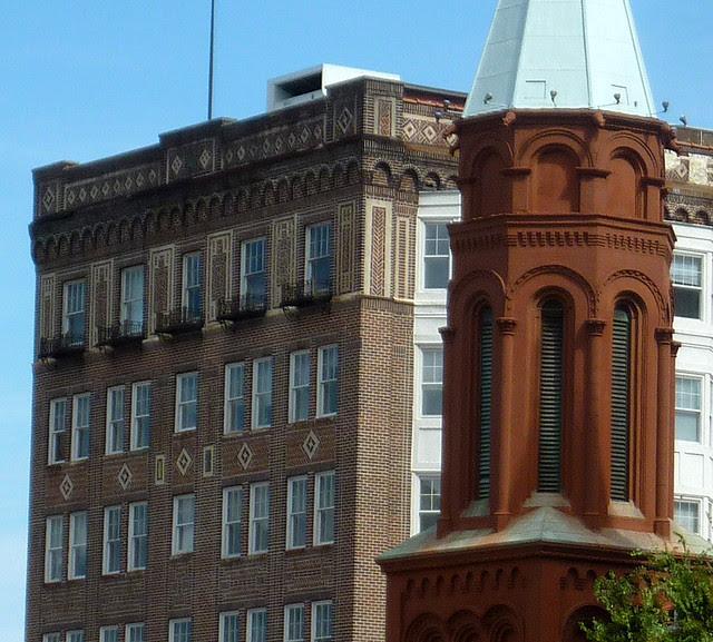 architecture tourist gargoyles and 2 centenarians in downtown atlanta