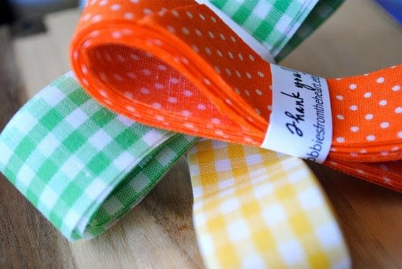 Vintage Ribbon, Gingham/polka dot (3 colors to choose)
