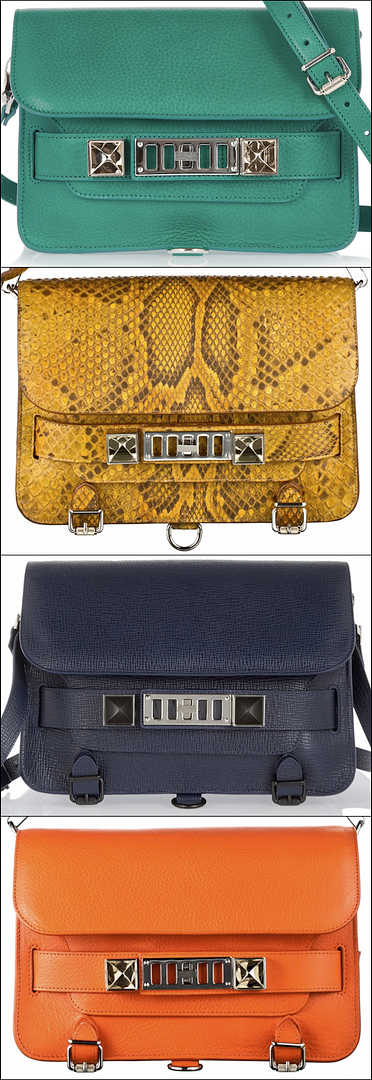 PROENZA SCHOULER PS11 BRIGHT COLORS YELLOW PYTHON SNAKE SKIN BRIGHT GREEN TEAL TEXTURED NAVY BRIGHT ORANGE CALSSIC FASHION BLOG FAVORITE