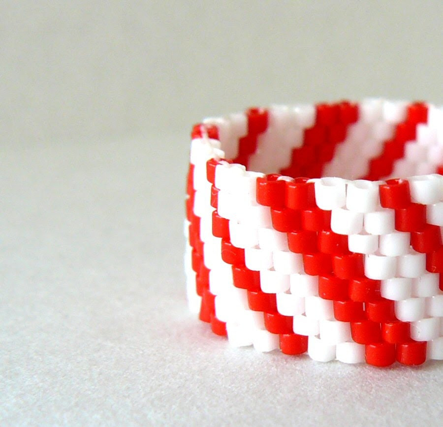 Candy Cane Stripe Ring Red and White Beaded Ring Christmas Jewelry Holiday Accessory Custom Size Peyote Bead Weaving - BrownIrisCreations