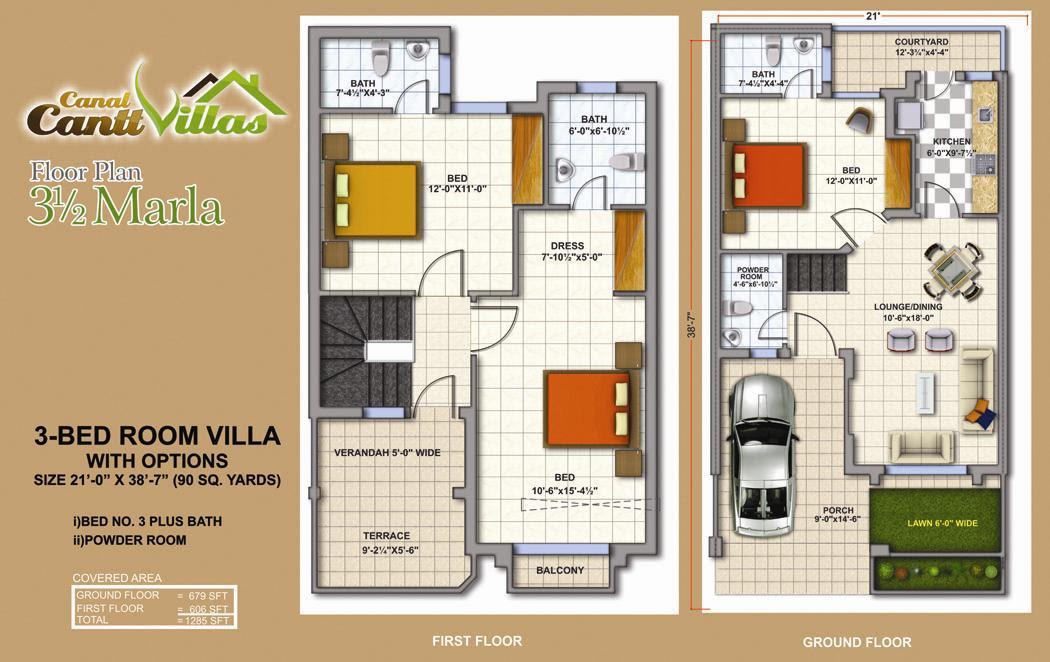 7 Marla House Plan Bahria Town Autocad