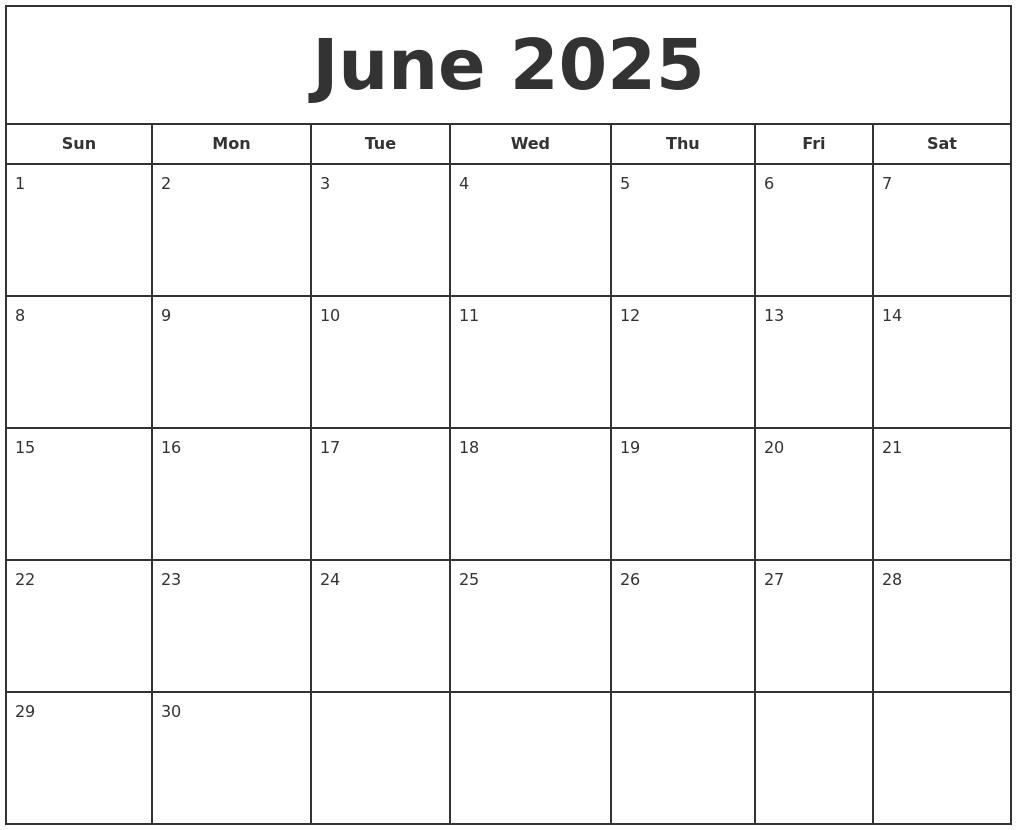 june 2025 print free calendar