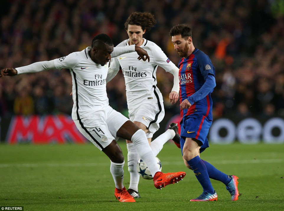 Barcelona No 10 Lionel Messi attempts to weave in between the challenges of Blaise Matuidi and Adrien Rabiot