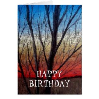 Sunset thru' trees greeting card