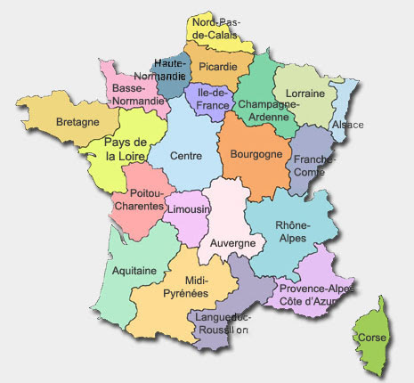 Pictures Of France Map. Regions of France Map Auverne,
