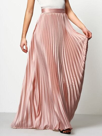 Pink Pleated Maxi Skirt pictures