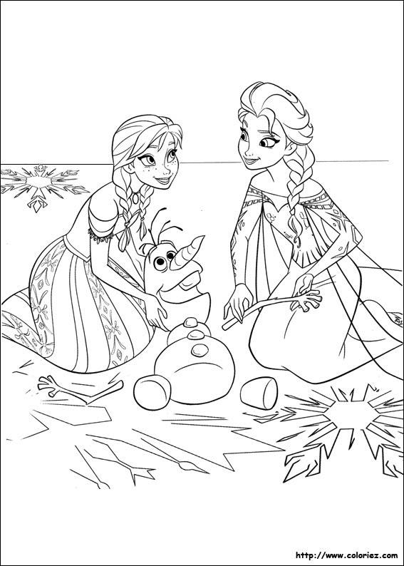 Coloriage Les Deux Soeurs Et Olaf