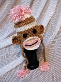 Cozy Girl Sock Monkey Beanie