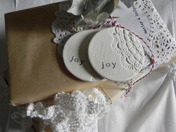 Vintage Doily Joy Clay Tags- set of 2