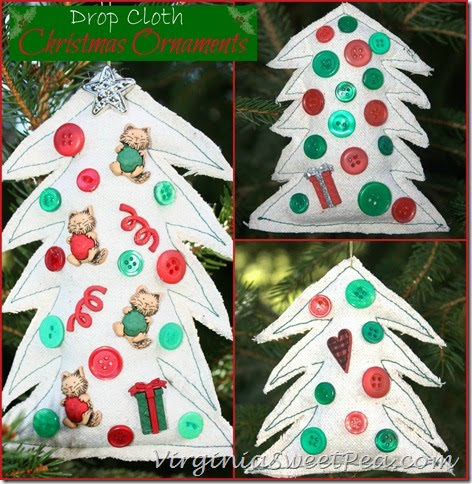 Drop Cloth Christmas Ornaments by virginiasweetpea