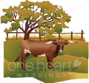 Longhorn Cattle on the Ranch Clipart   Western Wedding Clipart