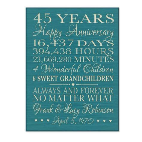 Personalized 45th anniversary gift for by