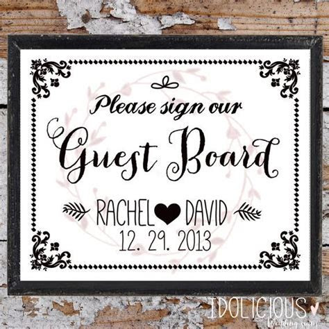 Please Sign Our Guest Board Wedding Sign (8x10)   Instant