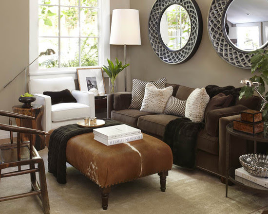 Furniture: Intriguing Brown Sofas In Small Living Room Interior ...