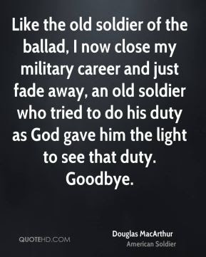 "Image result for MacArthur gave his ""Old Soldiers"" speech"