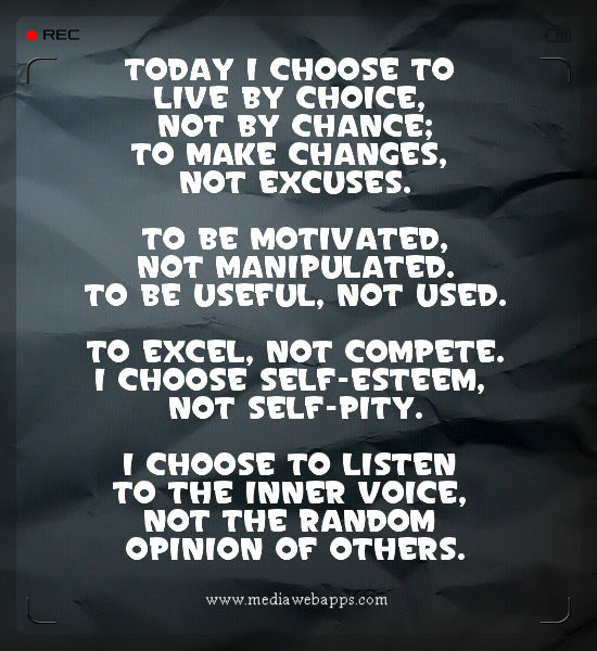 Today I Choose To Live By Choice Not By Chance To Amke Changes