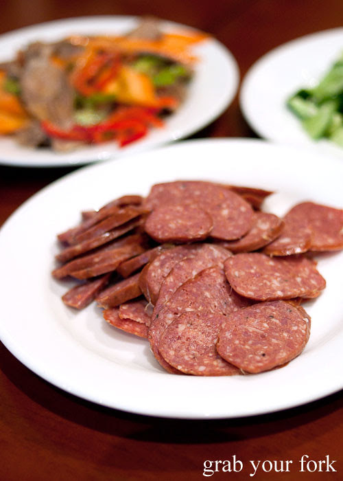 lamb tripe salad at poplar central asian cuisine crows nest