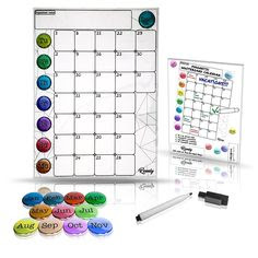 12-Month Laminated Wall Mounted Calendar/Planner Whiteboard, 3