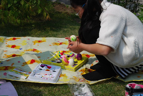 painting the eggs