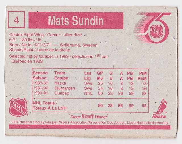 Kraft Dinner - Mats Sundin - Back