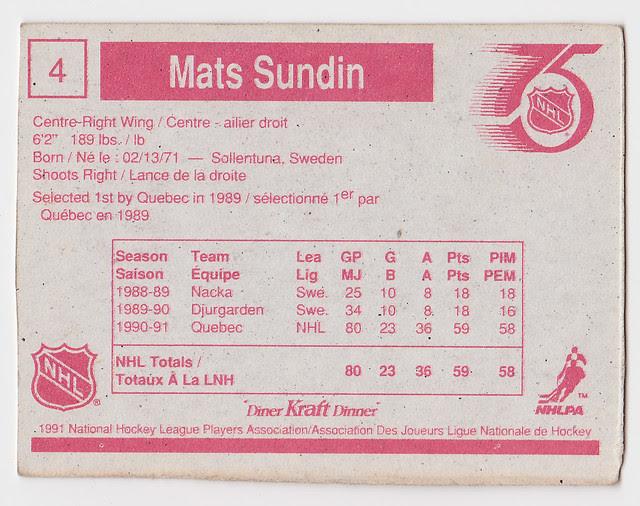 Kraft Dinner - Mats Sundin - Back