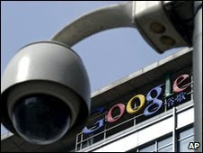 A surveillance camera outside Google's headquarters in Beijing, 23  March