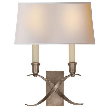 Transitional 'X' Wall Sconce with Shade - 2 Light - Shades of Light