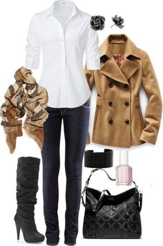 Classical fall style, camel and white