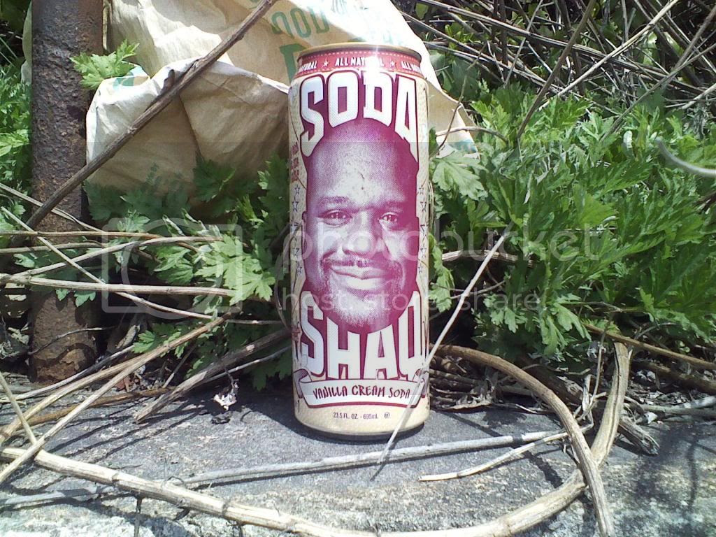 Close-up of an empty can of Soda Shaq